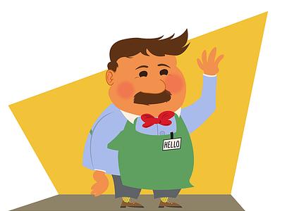 Grocery store man illustrator clerk grocerystore