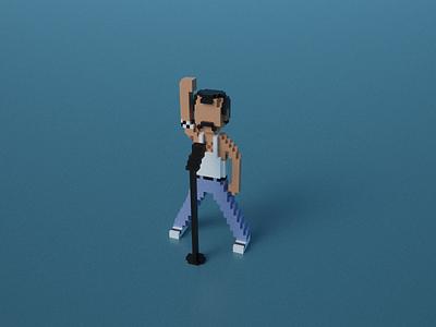 Freddie Mercury in Voxel Art marwanabbas freddiemercuryart mamaaa freddie mercury freddie blender 3d 8bitart pixelart magicavoxel cubes characterdesign voxelart