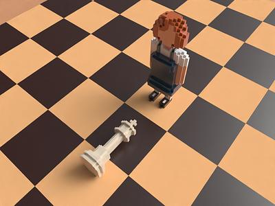The Queen's Gambit in Voxel Art character modeling lowpolyart lowpoly3d lowpoly character design magica voxel illustration blender voxels voxelart pixelart magicavoxel cubes characterdesign 8bitart 3d