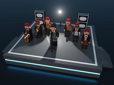 Om Kalthoum's Concert in Voxel Art gamedesign gamedev lowpolyart lowpoly lowpoly3d ephtracy illustration blender voxels voxelart pixelart magicavoxel cubes 3d characterdesign 8bitart