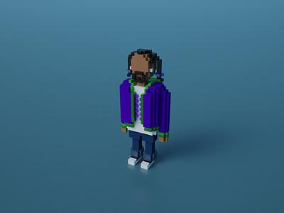 Snoop Dogg in Voxel Art snoop dogg lowpolyart lowpoly3d lowpoly illustration blender voxels voxelart pixelart magicavoxel cubes characterdesign 8bitart 3d