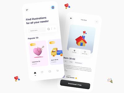 3D illustration App freebie clean ios app ecommerce illustrations daily trending logo ui design ux minimal 3d app ui app ui ux clean ui ui
