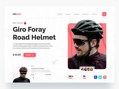 HELmet ⛑️ - Product Landing page inspiration minimal minimalist clean clean ui shopify product page landing page website design website ux ui helmet helmet design