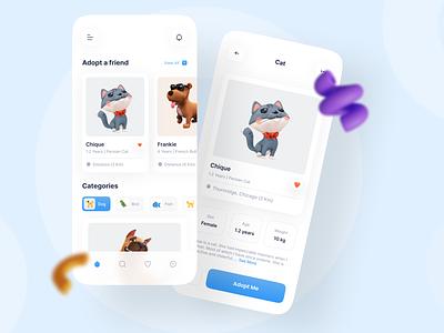 Pet Adoption app app cat pet rescue pet app pet store app ios app mobile ui figma 3d design store app minimialist pet pet care mobile petshop dog dog app pet adoption