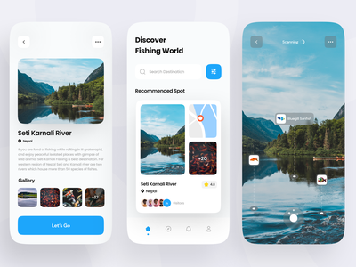 Fishing Mobile App Concept mobile travelling ux ui tourism app vacation travel mobile app destination app fish chart nature augmented reality location weather lake sea adventure catching modern fishing