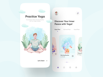 Yoga & Meditation App illustrations mvp mindfulness fitness app wellness breath health app yoga practice physiotherapy chilling relaxing stress app meditation app training app clean minimal ui ux ios mobile app yoga app