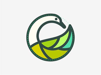 SWAN LEAF brand animal symbol mark logo icon design swans circle artsigma art duck leaf swan