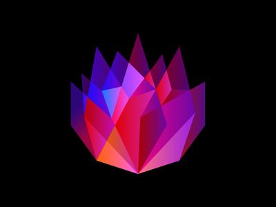 Crystal flower branding logo-design symbol mark logo icon design art artsigma brand flower crystal