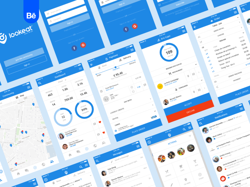 Lookeat - Application food uiux ux ui search product design mockups mobile layout ios interface design app branding brand identity brand behance project behance application