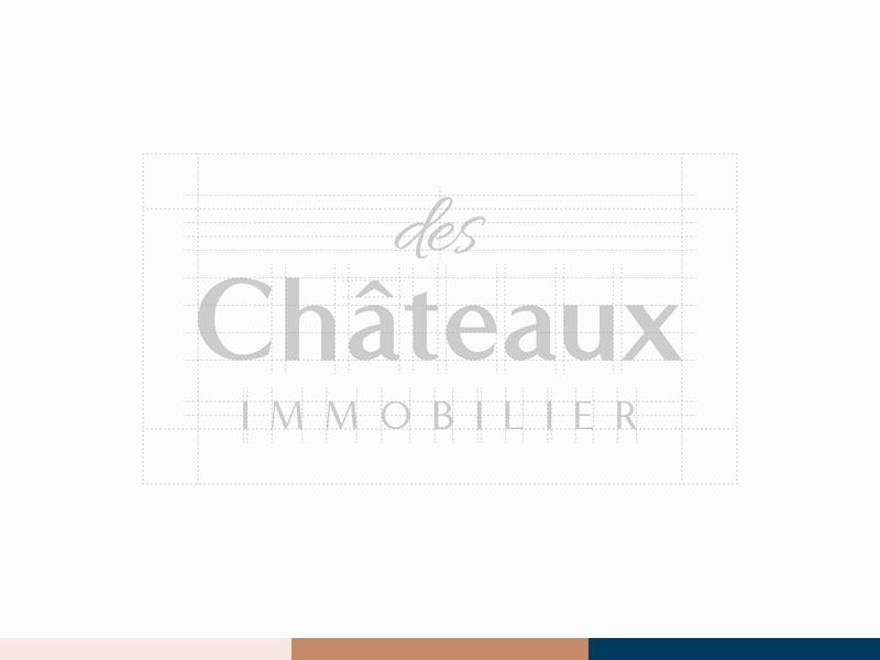 des Châteaux immobilier - Logotype immobilier typography sketch real estate logotype lettering identity logo mark process grid vector geometry design construction castle branding