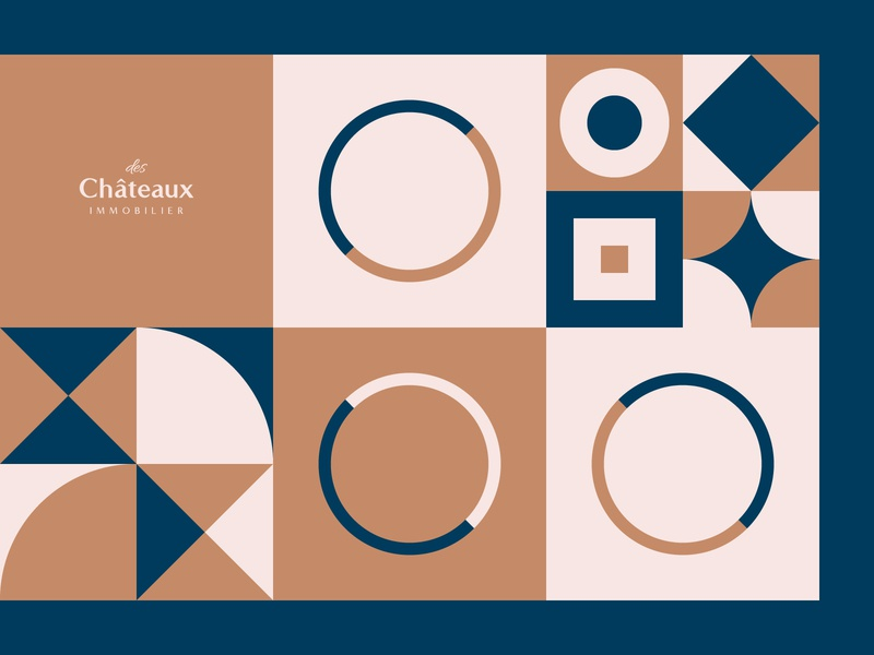 des Châteaux immobilier - Pattern castle design immobilier real estate branding lettering mark process identity vector grid geometry patterns logotype logo colors pattern