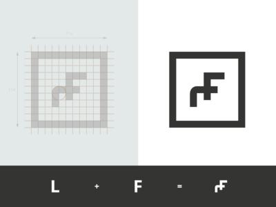 Ludwig Fiuza - Architecte d'intérieur & Designer sketch sign process overlay monogram mark logo lettering identity grid geometry lf