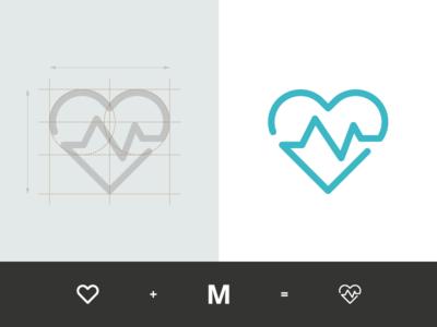 Manon Fournel - Coach Sportive heart sketch sign process overlay monogram mark logo mf identity grid geometry