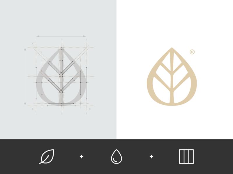 Elegance France - Logo tree sketch sign process overlay monogram mark logo leaf identity grid geometry drop