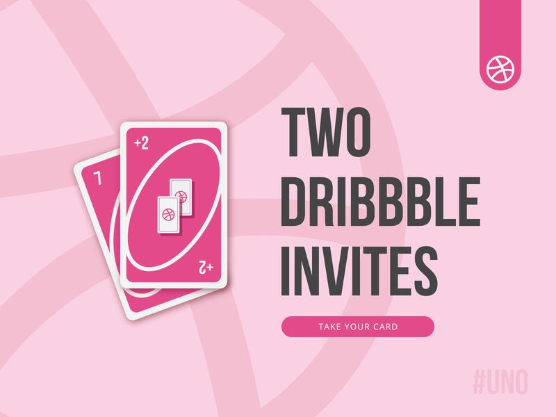 +2 Dribbble Invites invitation two invites illustration uno shot two join game invite dribbble