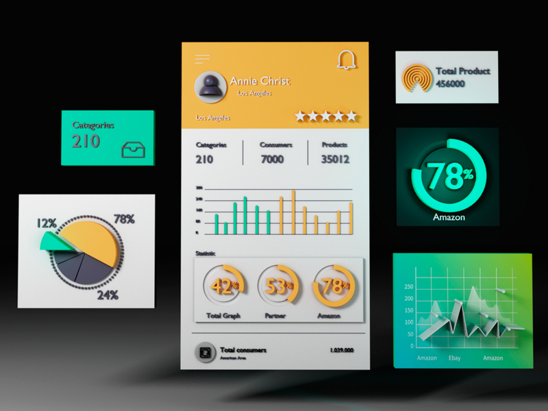 App dashboard ui design uidesign ui blendercycles blender3d blender