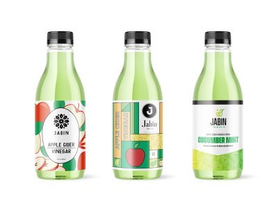 Jabin Bev Co - Unused Labels juice snack beverage drink minimal typography food and drink logo branding cpg design apple cider vinegar