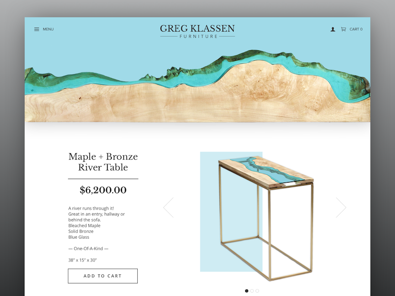 DailyUI #003 product page furniture sketch dailyui website