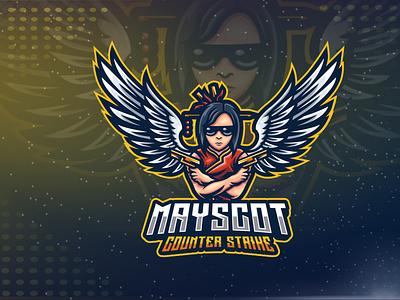 Woman & Gun Esport Logo gaming logo esport logo design branding logo angle wings gun woman esport