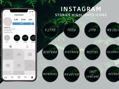 Live Green - Instagram Stories Highlight Icons logo flat app web livegreen branding ui stories icon instagram stories instagram icon design