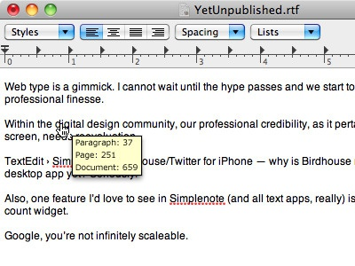 A Thought: Real-time Word Count (v. 2) features feature list wishlist