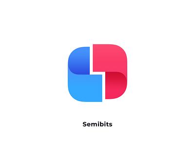 Semibits  •  Logo logomark thebin software company branding logotype gradient blue red semibits logo