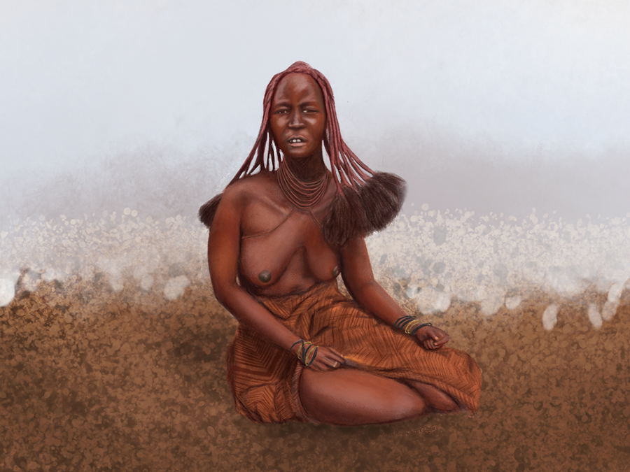 Himba woman photoshop realistic drawing woman illustration