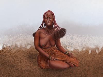 Himba woman photoshop realistic drawing woman illustration