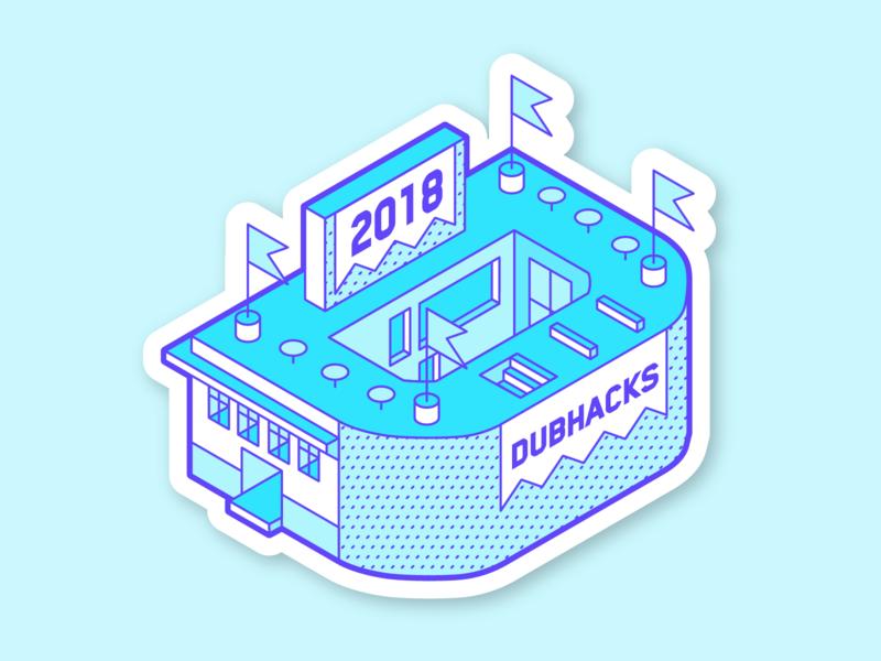 "Dubhacks ""D"" Sticker abstract uw design illustration student isometric building hackathon identity branding sticker swag"
