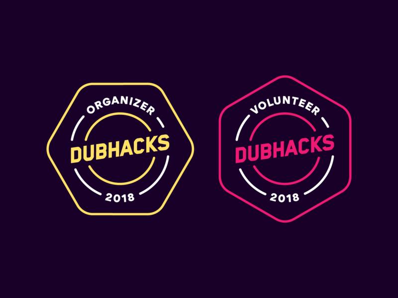 Volunteer + Organizer Badges logo symbol abstract illustration monoline badge student uw identity branding sticker swag