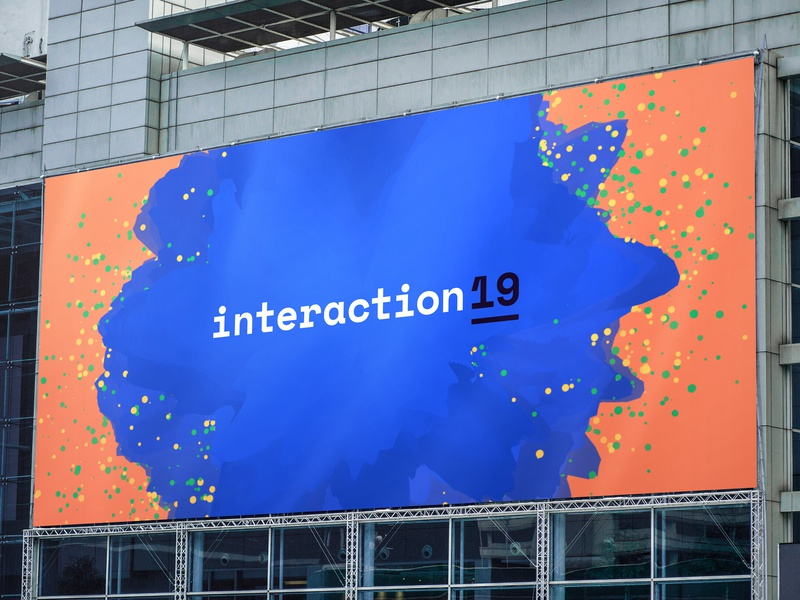 Interaction19 Billboard student algorithmic p5.js logo billboard conference dynamic processing procedural generative identity branding