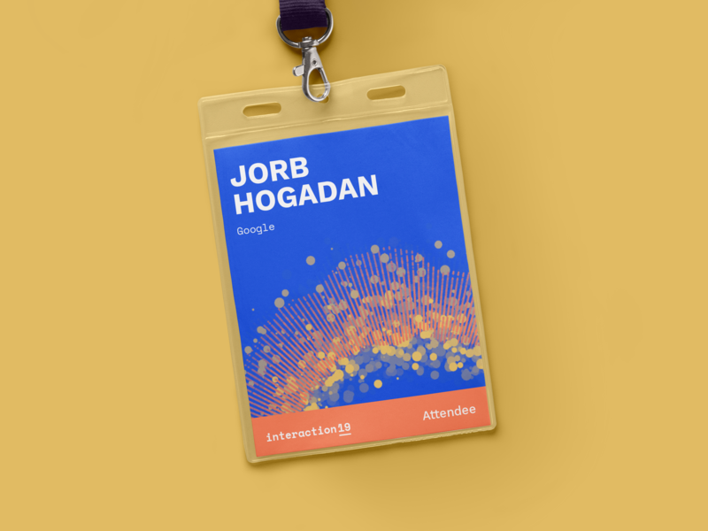Interaction19 Attendee Badges card mockup processing p5.js generative algorithmic geometric student lanyard ticket badge attendee conference branding identity