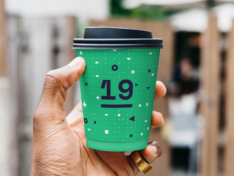 Interaction19 Coffee Cup student pattern logo logomark grid geometric conference branding identity
