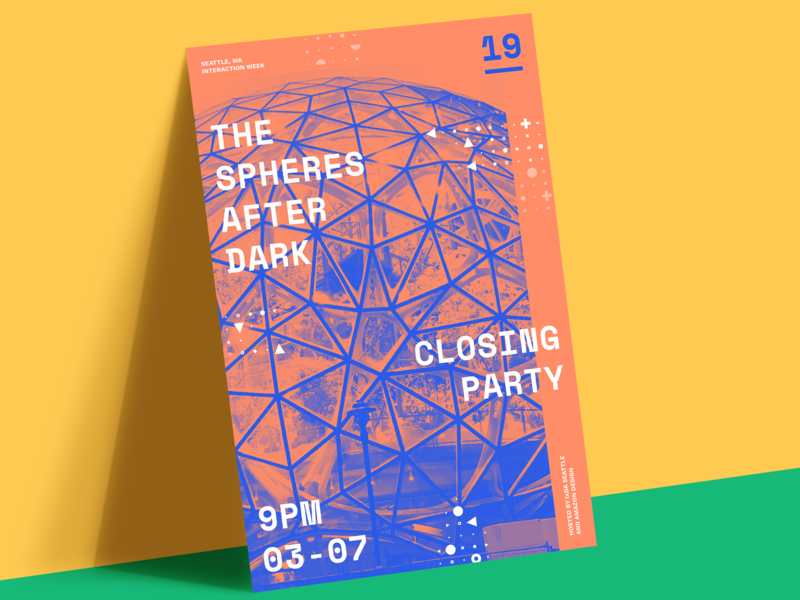 Interaction19 Event Poster grid conference sign duotone geometric concept student event poster identity branding