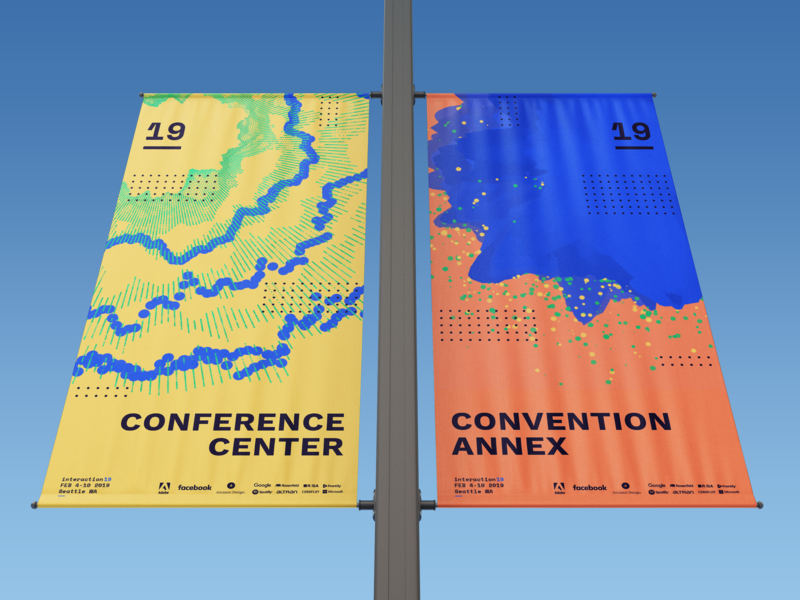 Interaction19 Venue Banners p5.js processing generative procedural algorithmic conference student wayfinding sign banner concept identity branding