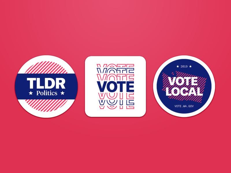 Campaign Stickers mockup swag sticker vote voting politics illustration student identity branding