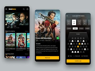 Movie Ticket App dark flat ticket movie film mobile app design dailyuidesign ux ui