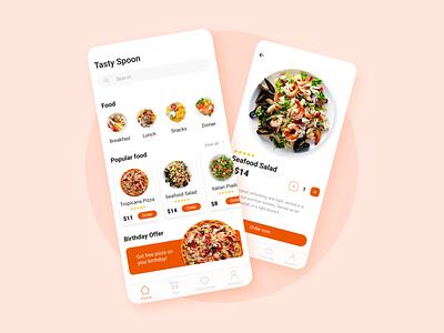 "Food App ""Tasty Spoon"" delivery pizza food ux ui mobile flat design dailyuidesign app"