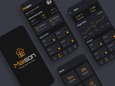 Smart Home App MAISON concept smarthome home dailyui mobile dailyuidesign app ux ui design
