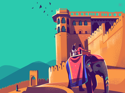 Amer Fort - Jaipur textures vector illustration rustic colourful viewpoint travel outdoor stairway architecture heritage india fort