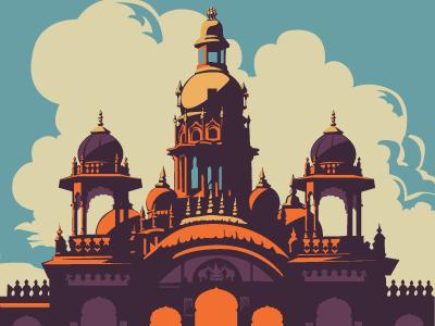 Mysore Palace mysore mysore palace postcard poster travel illustration vector palace india south india bangalore architecture