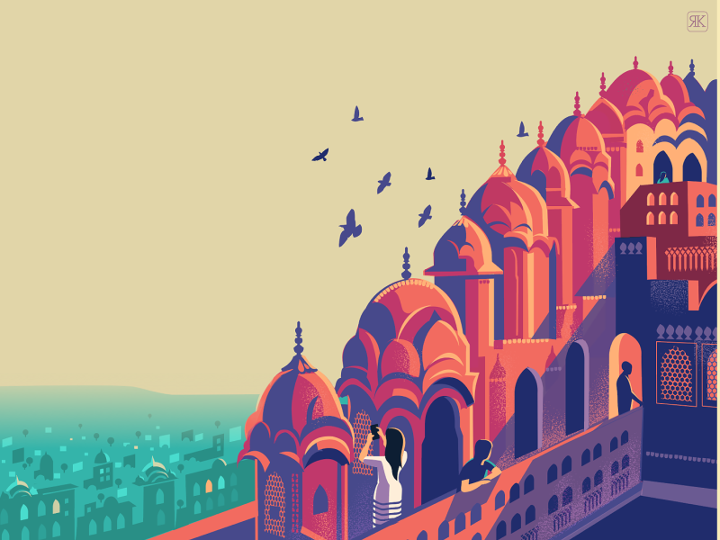 City Skyline location drawing palace architecutre heritage pink rajasthan series illustration sketch india jaipur