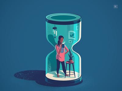 Giving time a break story texture illustration india isometric view patio solitude coffee home time conceptual illustration conceptual design hour glass quarantine working from home