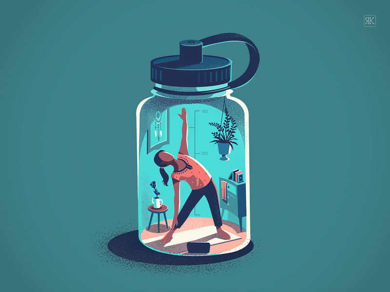 Prioritising fitness series vector illustration conceptual bottle activity quarantine staying fit exercise stretch yoga fitness