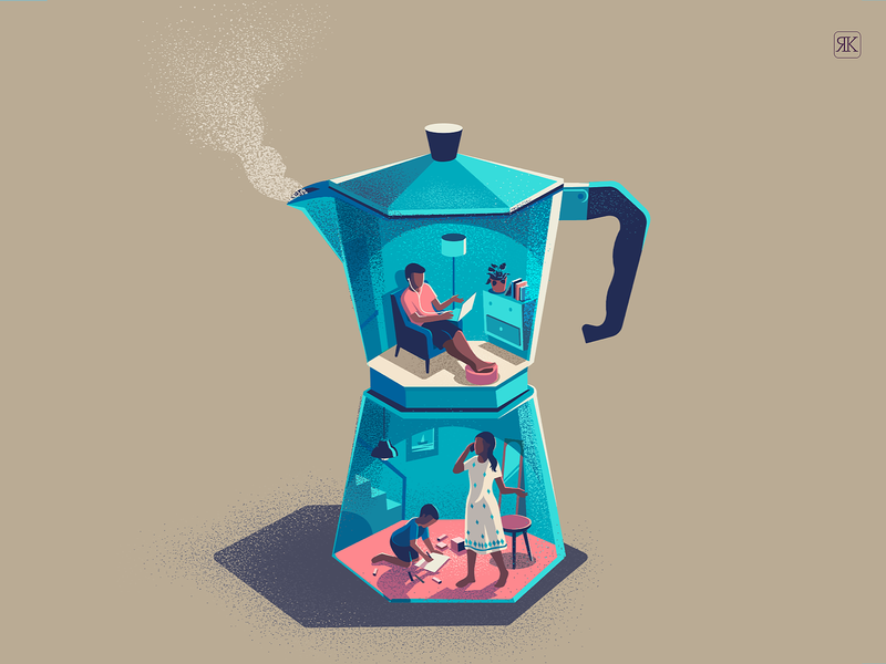 Brewing work from home conceptual illustration brewing india illustration home space quarantine working space work from home routine coffeemaker brew