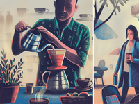 Coffee and Carbon Footprint handmade procreate ipadpro print magazine routine environment impact illustration carbon footprint coffee
