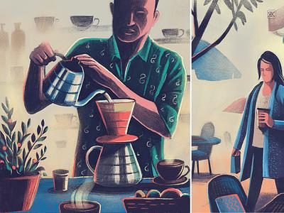 Coffee and Carbon Footprint handmade procreate ipadpro print magazine routine environment impact illustration carbon footprint coffee