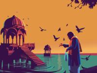 Lake Gadisar series story illustration everyday ritual yellow city desert india gadisar jaisalmer rajasthan