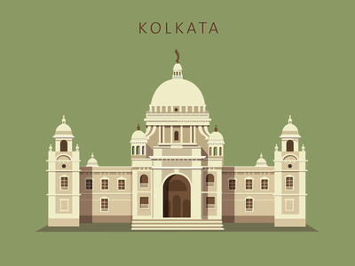 Kolkata kolkata calucutta victoria memorial vintage illustration india classical palace cityscape city