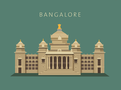Bangalore - Vidhan Soudha bangalore vidhan soudha parliament vector flat india karnataka illustration architecture colourful